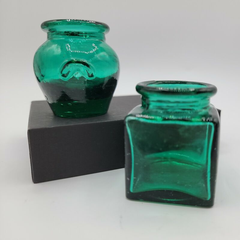 """Vintage Emerald Glass Tiny Bud Vases, Green Glass, Glass Decor, approx. 2"""""""