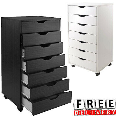 7 Drawer Rolling File Cabinet Wood Office Holder Document Storage Organizer