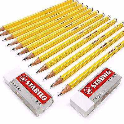 Stabilo Premium School Set - 12 x Scholar HB Pencils + 2 STABILO Legacy Erasers