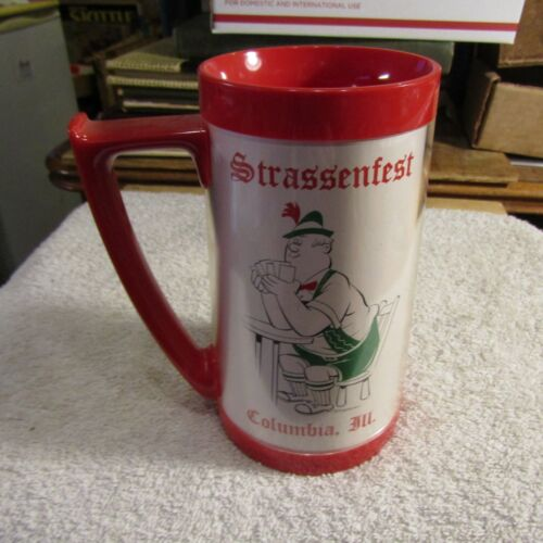 Vintage Strassenfest Beer Mug Columbia Illinois Thermo-Serv Insulated USA NOS