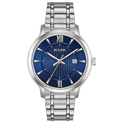 Bulova Men's Quartz Silver-Tone Blue Dial Date Indicator 40mm Watch 96B282
