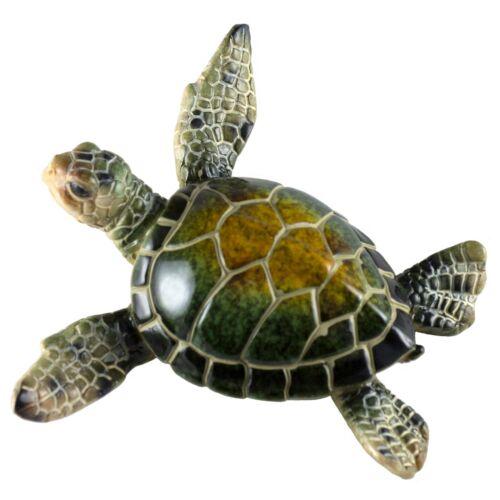 "Green Sea Turtle Figurine Statue 4"" Wide Resin New!"