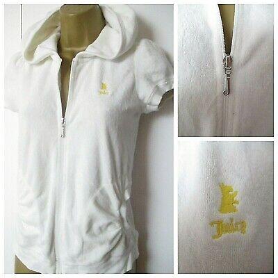 Juicy Couture UK:14 Hooded White Zip Front Towelling Hoodie Top Short Sleeve