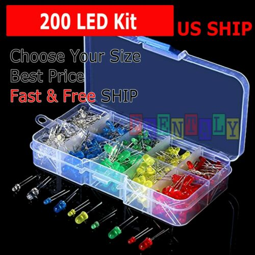 200 pcs 3mm 5mm LED Light White Yellow Red Green Assorted Assortment Kit DIY Set