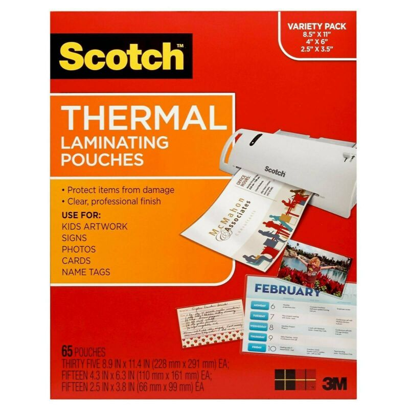 Scotch Variety Pack Thermal Laminating Letter, Photo TP-8000-VP