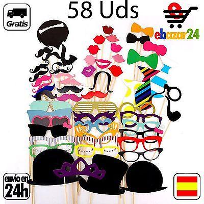 58Ud Photo Call Booth Fotocall Atrezzo Set Boda Gafas Bigote Foto Fotos...