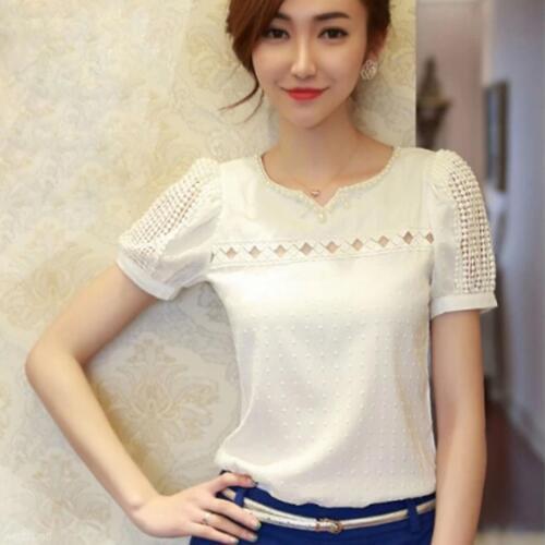 Fashion Women Slim Chiffon Tops Lace Short Sleeve T-Shirt Shirt Casual Blouse