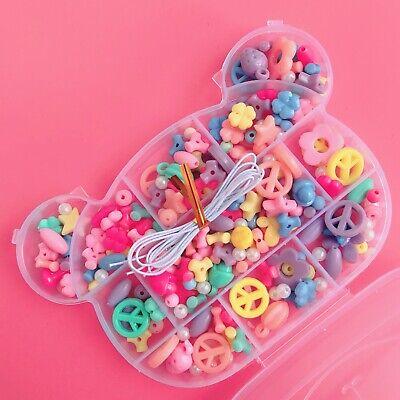 Cute Pastel Bead Jewellery Making Kit & Kawaii Bear Case Fairy Kei Bracelet Set ()