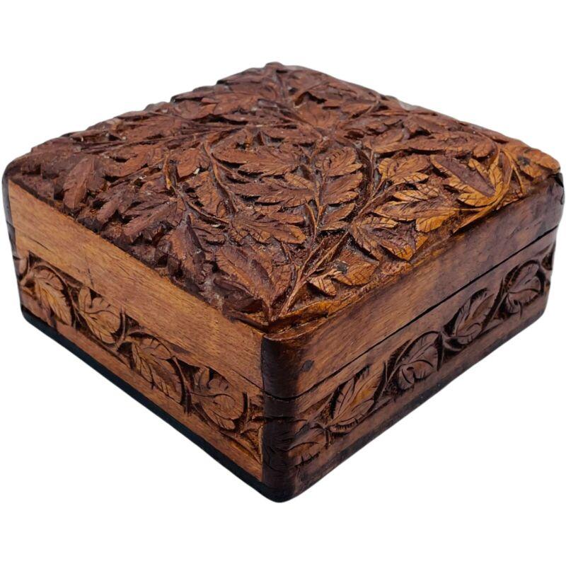 Vintage Hand Carved Wooden Trinket Box Detailed Lead Design Leaves Square Hinge