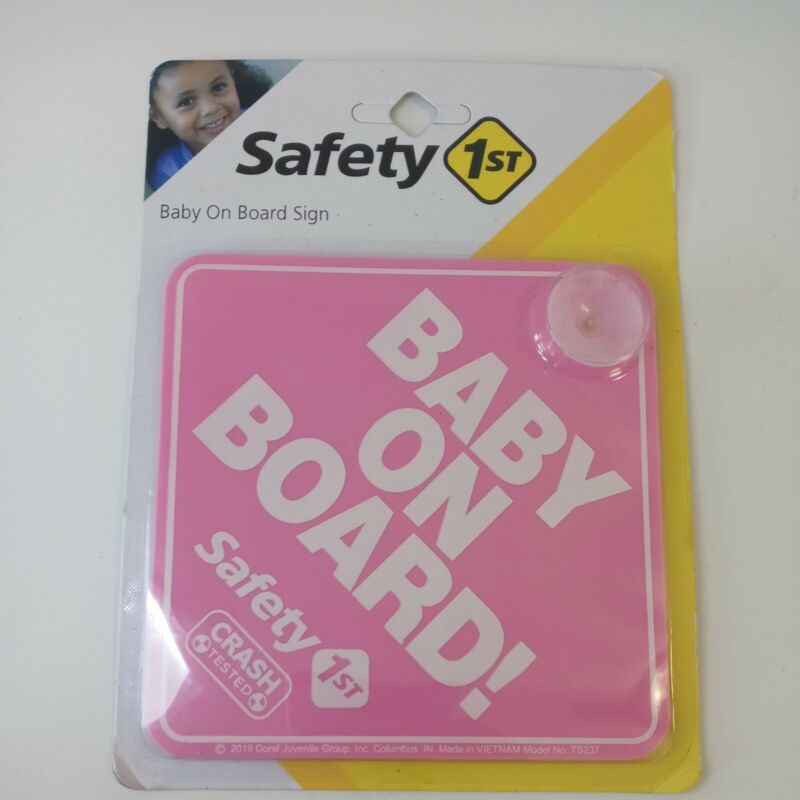 """Safety 1st """"Baby On Board!"""" Car Window Sign Decal Pink Baby Girl New"""