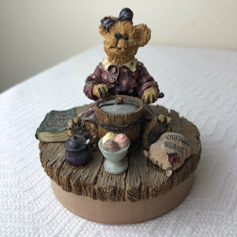 Boyd's Bears Candle Jar Figural Topper Lid Ice Cream Making fits most large/med