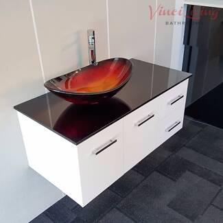 HURRY! 1M Bathroom Vanity Unit Burgundy Glass Top Glass Basin