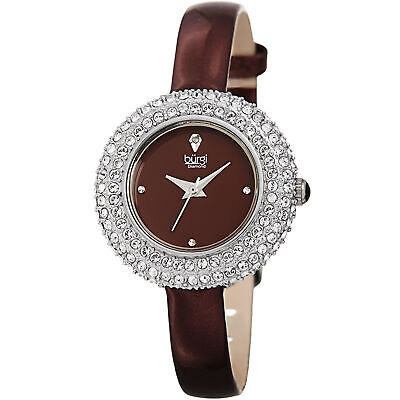 Women's Burgi BUR195BUR Swarovski Crystal & Diamond Brown Satin Leather Watch