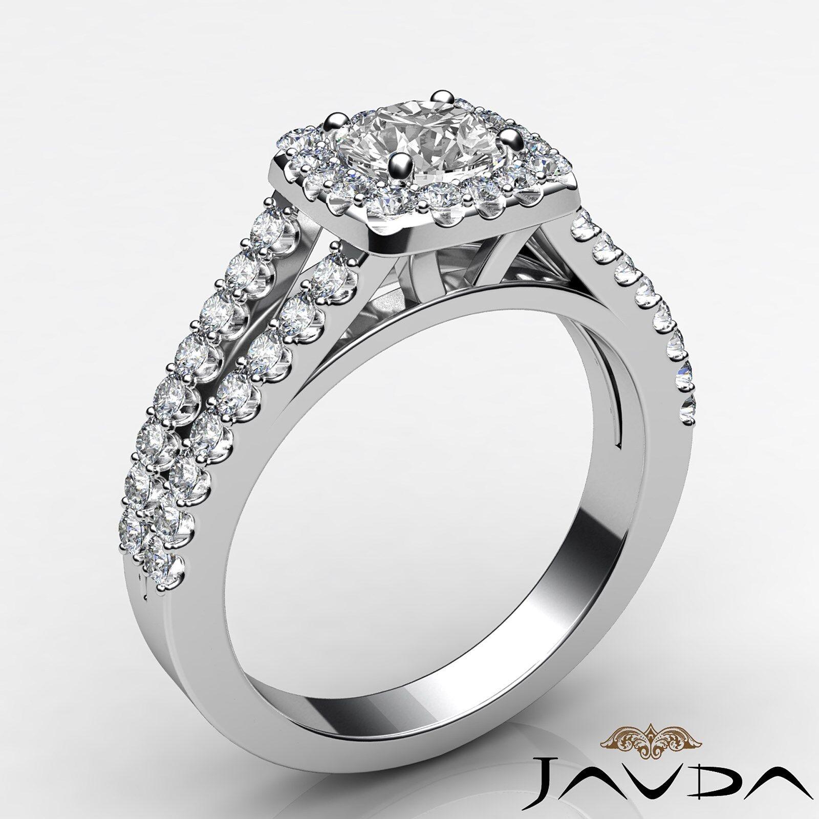 Round Diamond Engagement Halo Split Shank Ring GIA E VVS1 14k White Gold 1 1/4ct 2