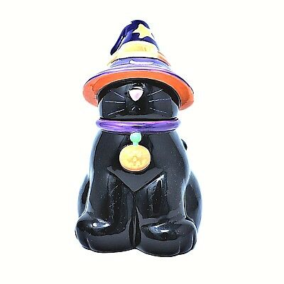 Rare Harry And David Halloween Black Cat Witches Hat Ceramic Cookie Jar New