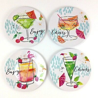Tropical Plates (4 Tropical Drinks Melamine Appetizer Plates Tidbit Snack Size 6