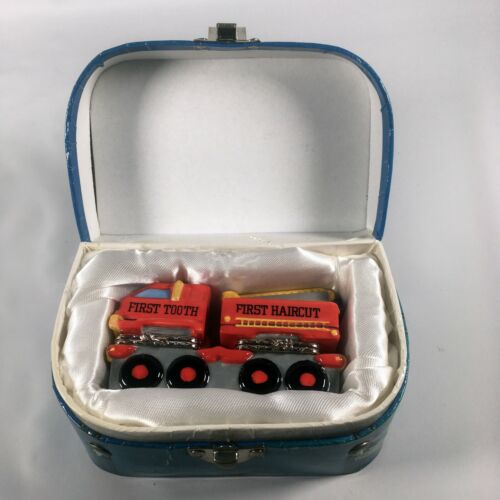 MUD PIE Fire Truck First Tooth, First Haircut hinged box #17933 Blue