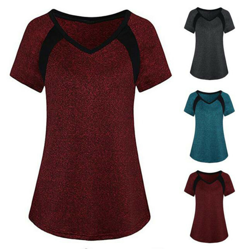 Women Floral Loose Tunic Tops Shirt Short Sleeve Summer T-Shirt Blouse Plus Size Clothing, Shoes & Accessories