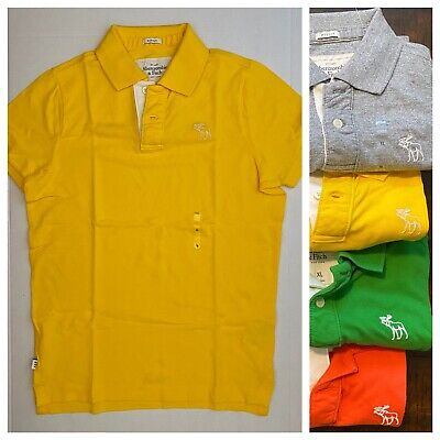 New Vintage Abercrombie & Fitch Muscle Fit Men 100% Cotton Polo Shirt, Yellow XL