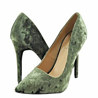 Women's Shoes Qupid Milia 01 Crushed Velvet Pointed Toe Pumps Khaki *New*