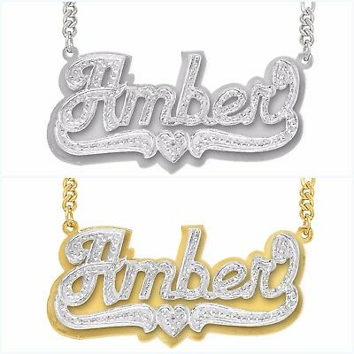 Personalized Sterling Silver Script any Name Plate Necklace w/ Free Chain