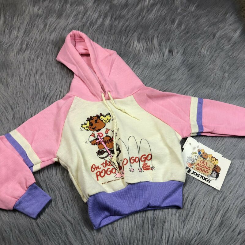 Vintage 1984 Toddler Girls Pink Purple Cream Get Along Gang Hoodie