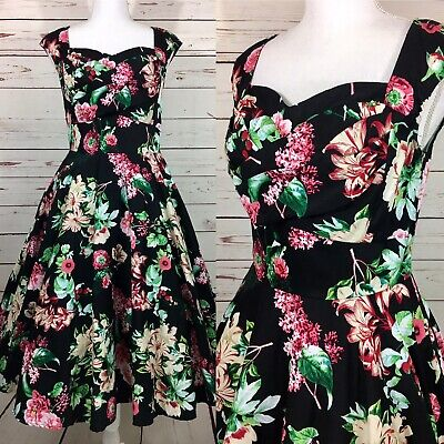 Belle Poque Black Floral Garden Retro 1950's Style Dress Pin Up Med Sweetheart B