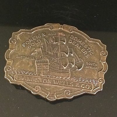 Livingston Wells 1970S Gold Dealers Schooner Boat Belt Buckle   Rockabilly Indie