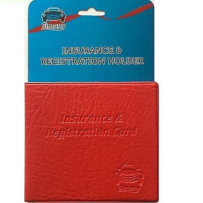 Red AUTO CAR INSURANCE REGISTRATION HOLDER WALLET 5.25x4.6