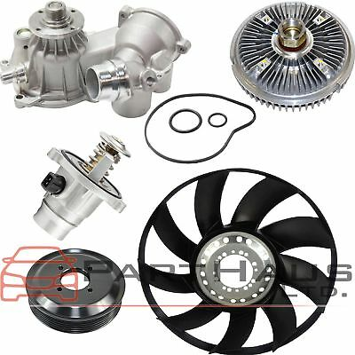 FIT BMW 745Li 745i Water Pump Thermostat Fan Clutch Fan Blade Pulley Kit(5pcs)