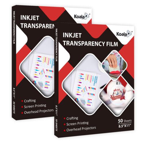 100 Sheets Koala 100% CLEAR Transparency Film Overhead Projector Inkjet 8.5x11