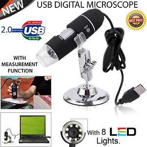 USB Microscope Endoscope 1000X 8 LED 2MP Digital Magnifier Camera & Lift Stand