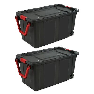 Wheeled Tote Plastic Storage Container Bin Organizer With Lid Rolling Wheels 2pk