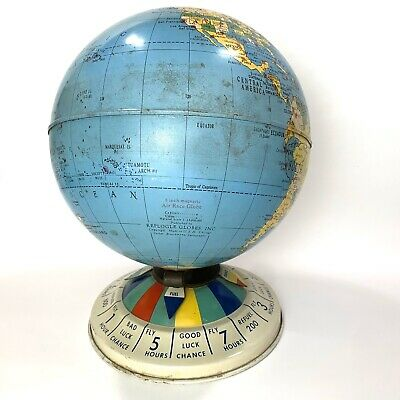 Vintage Look Black And Gold Rotating World Globe On A Metal Stand In 3 Sizes