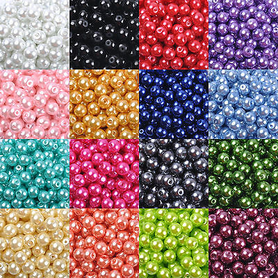 Beads - Top Quality Czech Glass Pearl Round Beads Choose - 4MM, 6MM, 8MM & 10MM