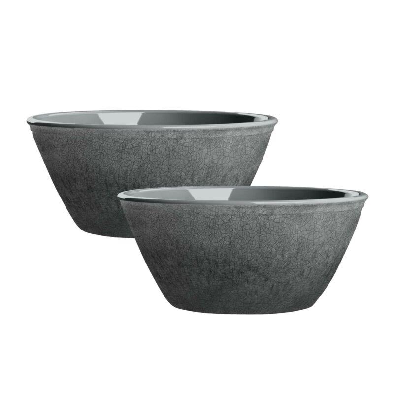 Potters Reactive Glaze GREY Melamine Low Bowl x 2