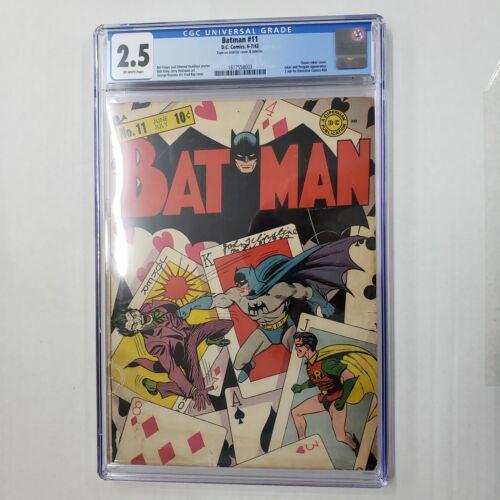 DC Comics Batman #11 CGC 2.5 OW Pages Classic Joker Cover