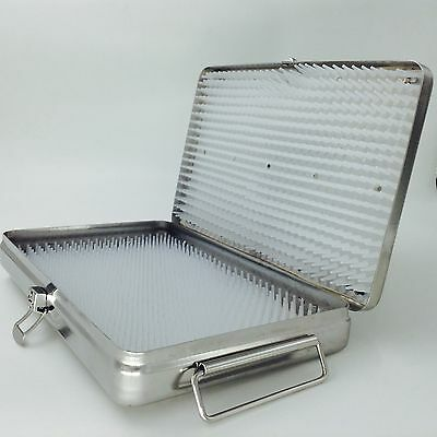 Big Stainless Steel Sterilization Tray Case 2 Silicone Mats Surgical Instrument