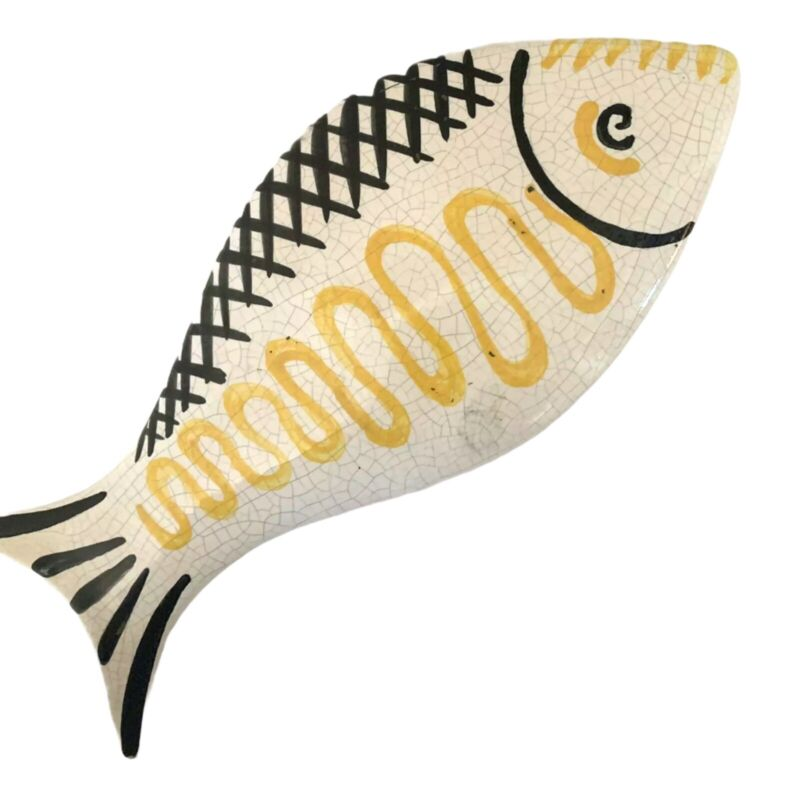 Black, White & Yellow FUNKY Ceramic Hand Painted Fish - Made In Portugal!