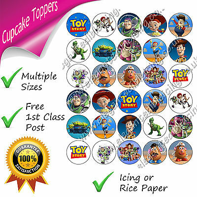 TOY STORY CUPCAKE TOPPERS EDIBLE PRINTED CUPCAKE DECORATIONS BUZZ WOODY JESSIE