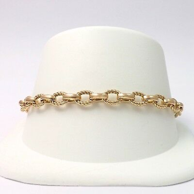 (14k Gold Solid Oval Cable Rope Combo Link Charm Bracelet Sz 7.5