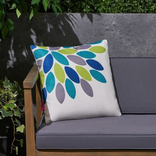 Grace Outdoor Cushion, 17.75″ Square, Abstract Geometric Leaf Pattern, Cream, Bl Home & Garden