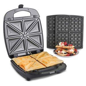 VonShef Sandwich Toaster Waffle Maker 2 in 1 Toastie Machine Snack 4 Slice Grill