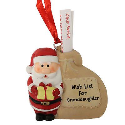 Christmas Hanging Tree Decoration - Santa with Sack - Wish List Granddaughter