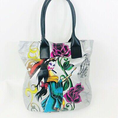 Christian Audigier Tote Bag Silver Geisha Queen Roses Black Handles](Christian Tote Bags)
