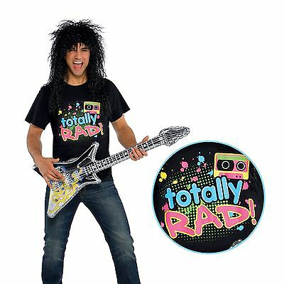 Mens Totally Rad 80s Punk Rocker Band Neon Retro T Shirt Clothing Fancy Dress - Retro Rocker Kostüm