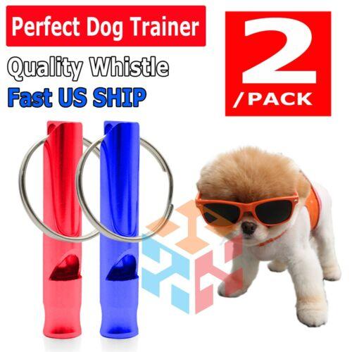 2 PCS RED BLUE SET Hot Pet Dog Training Whistle Dog Obedience Stop Barking Pet