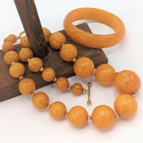 Vintage Butterscotch Egg Yolk Amber Bakelite Graduated Bead Necklace & Bracelet
