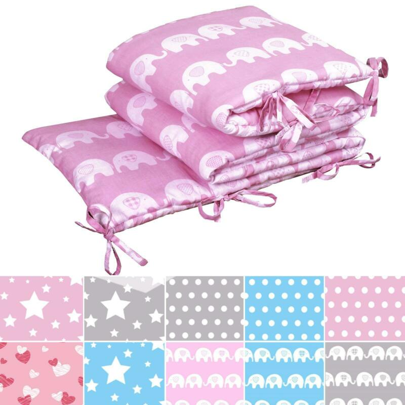 Baby Infant Nursery 100% Cotton Soft Padded Quilted Crib Cot Bed Bumper