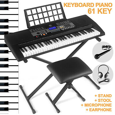 61-Key Portable Electronic Piano Keyboard Organ Headphone Microphone Stand Bench
